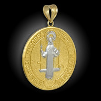 Two-Tone Solid Gold St. Benedict Medallion Pendant