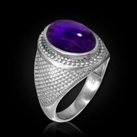 White Gold Textured Band Purple Amethyst Cabochon Statement Ring
