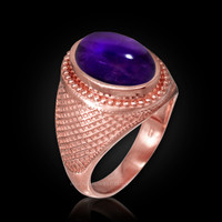 Rose Gold Textured Band Purple Amethyst Cabochon Statement Ring