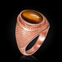 Rose Gold Textured Band Tiger Eye Cabochon Statement Ring