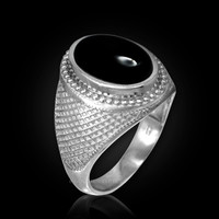 White Gold Textured Band Black Onyx Statement Ring