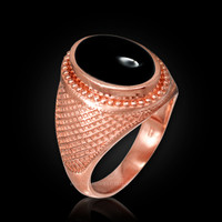Rose Gold Textured Band Black Onyx Statement Ring