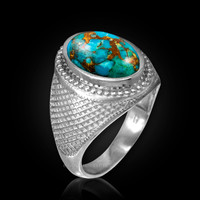 White Gold Blue Copper Turquoise Statement Ring