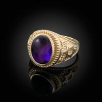 Gold Star of David Purple Amethyst Cabochon Statement Ring