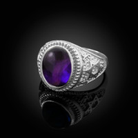 White Gold Star of David Purple Amethyst Cabochon Statement Ring