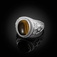 White Gold Star of David Tiger Eye Gemstone Jewish Statement Ring