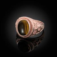 Rose Gold Star of David Tiger Eye Gemstone Jewish Statement Ring