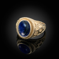 Gold Star of David Lapis Lazuli Gemstone Jewish Statement Ring
