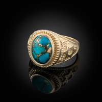Gold Star of David Blue Copper Turquoise Jewish Statement Ring