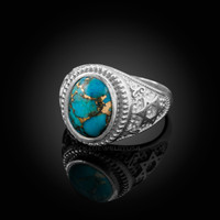 White Gold Star of David Blue Copper Turquoise Jewish Statement Ring