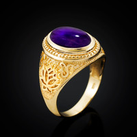 Gold Lotus Yoga Mantra Oval Amethyst Cabochon Statement Ring
