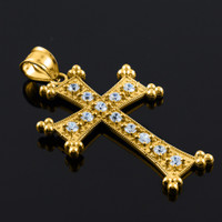 Gold Armenian CZ Cross Pendant