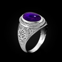 White Gold Lotus Yoga Mantra Oval Amethyst Cabochon Statement Ring