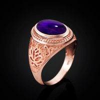 Rose Gold Lotus Yoga Mantra Oval Amethyst Cabochon Statement Ring