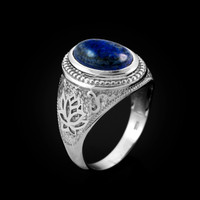 White Gold Lotus Yoga Mantra Lapis Lazuli Gemstone Statement Ring