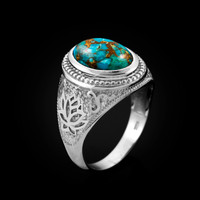 White Gold Lotus Yoga Mantra Blue Copper Turquoise Statement Ring