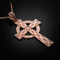 Rose Gold Celtic Cross Pendant Necklace