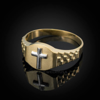 Two-Tone Gold Christian Religious Cross Round Watchband Ring