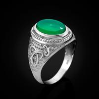 White Gold Celtic Trinity Green Onyx Statement Ring