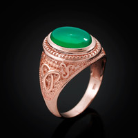 Rose Gold Celtic Trinity Green Onyx Statement Ring