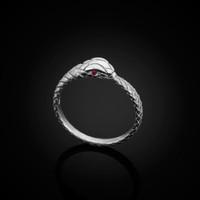 White Gold Ouroboros Snake Ruby Ring Band