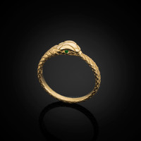 Gold Ouroboros Snake Ladies Emerald Ring Band
