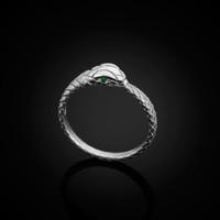 White Gold Ouroboros Snake Emerald Ring Band