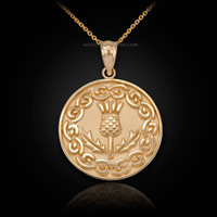 Gold Scottish Thistle Medallion Pendant Necklace