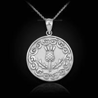 White Gold Scottish Thistle Medallion Pendant Necklace
