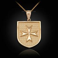 Gold Knights Hospitaller Maltese Cross Badge Pendant Necklace