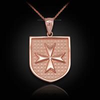 Rose Gold Knights Hospitaller Maltese Cross Badge Pendant Necklace