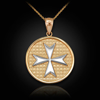 Two-Tone Gold Knights Templar Maltese Cross Medallion Pendant Necklace