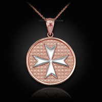 Two-Tone Rose Gold Knights Templar Maltese Cross Medal Pendant Necklace