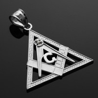 White Gold Triangle Diamond Masonic Pendant