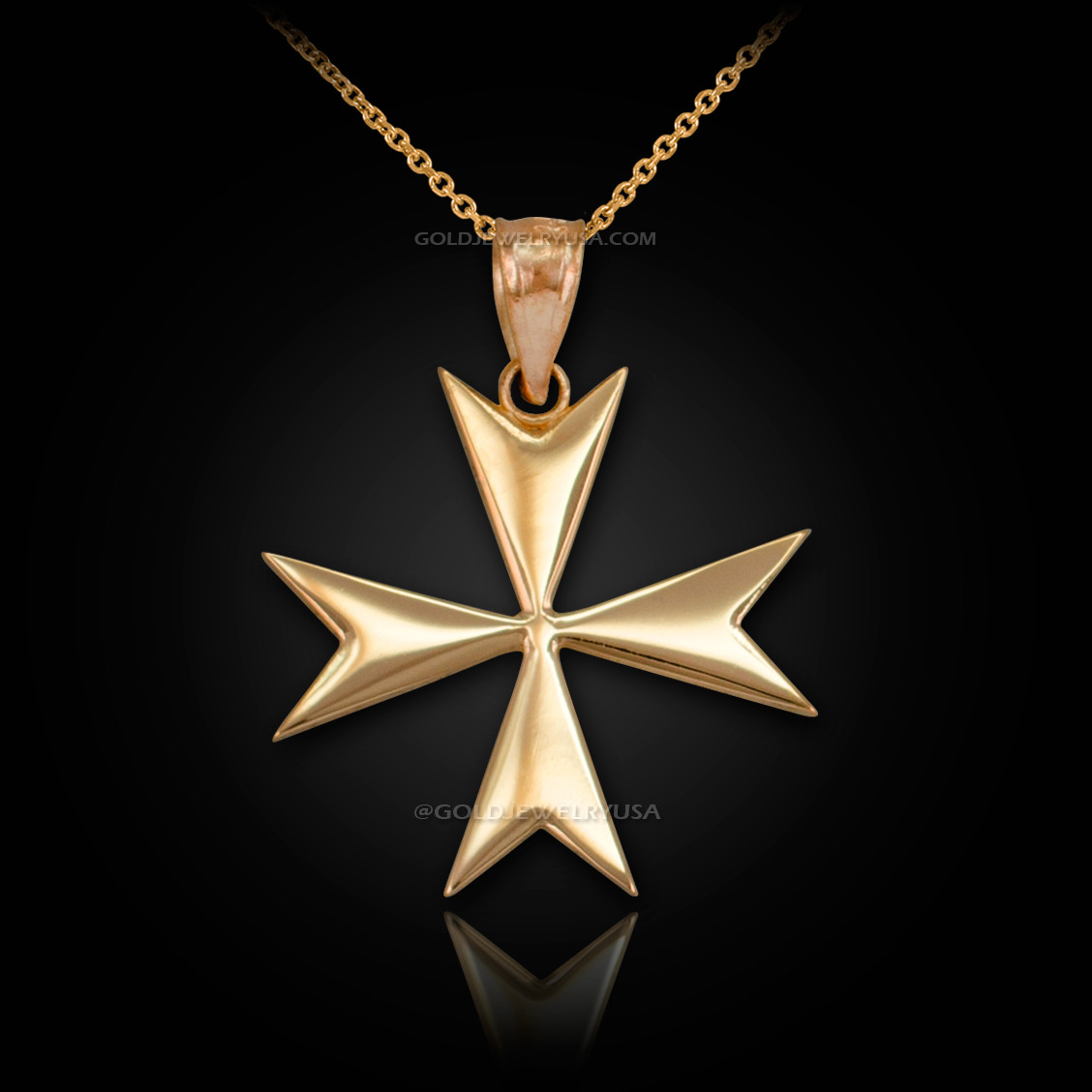 Gold maltese cross pendant necklace gold maltese crosss necklace mozeypictures Image collections