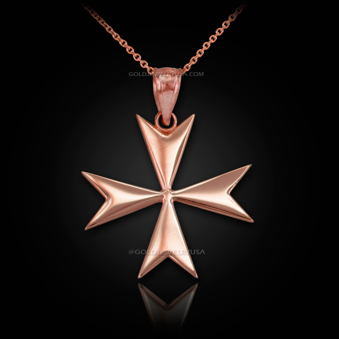 Rose gold maltese cross pendant necklace polished rose gold maltese cross pendant necklace aloadofball Image collections