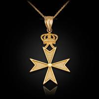 Yellow Gold Maltese Cross Royal Crown Pendant Necklace