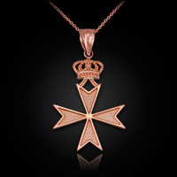 Rose Gold Maltese Cross Royal Crown Pendant Necklace