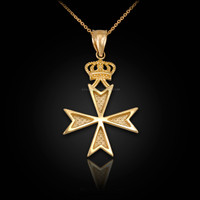 Gold Maltese Cross Crown Charm Necklace