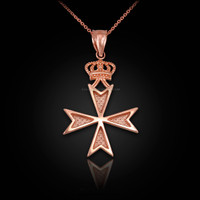 Rose Gold Maltese Cross Crown Charm Necklace