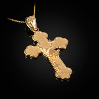 Gold Rosary Cross Prayer Pendant Necklace