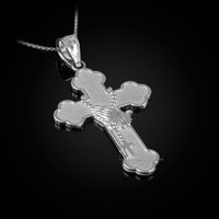 White Gold Rosary Cross Prayer Pendant Necklace
