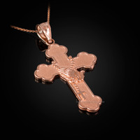 Rose Gold Rosary Cross Prayer Pendant Necklace