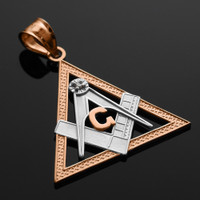 Two-Tone Rose Gold Triangle Diamond Masonic Pendant