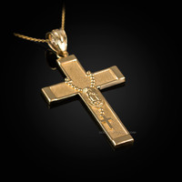 Yellow Gold Guadalupe Latin Cross Rosary Pendant Necklace