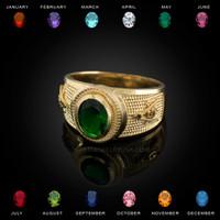 Yellow Gold Masonic CZ Birthstone Ring