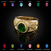 Gold Cedar Tree of Lebanon CZ Birthstone Ring