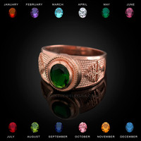 Rose Gold Cedar Tree of Lebanon CZ Birthstone Ring