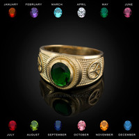 Gold Peace Sign Band CZ Birthstone Ring
