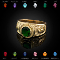 Yellow Gold Islamic Crescent moon CZ Birthstone Ring